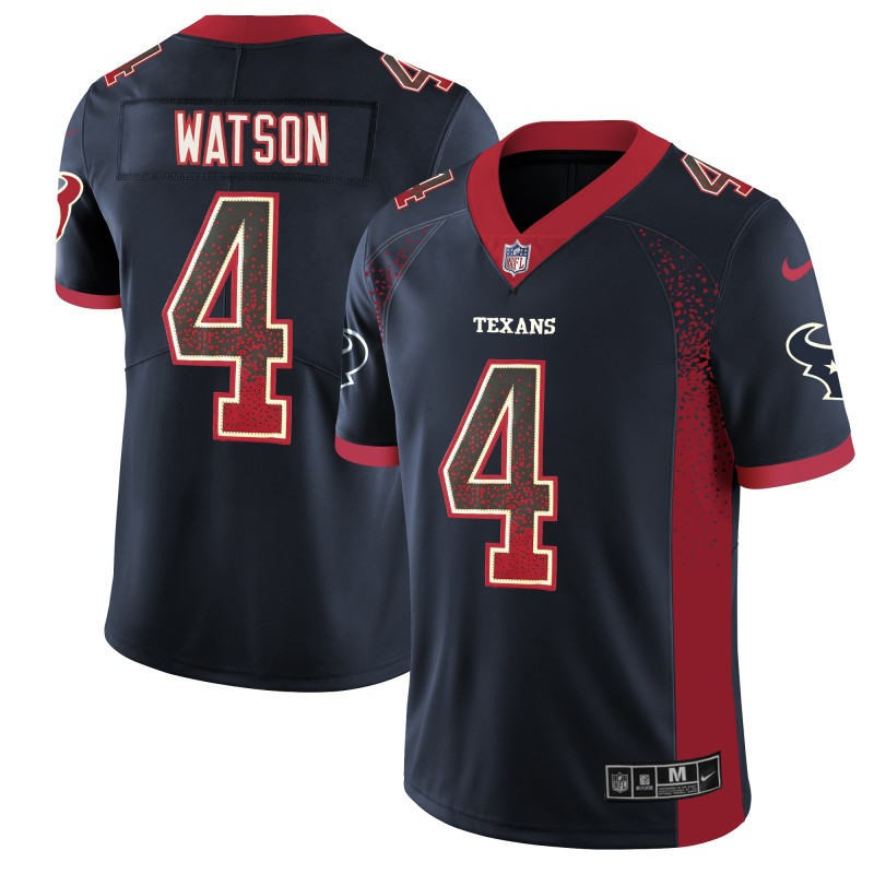 Men's Texans #4 Deshaun Watson Navy 2018 Drift Fashion Color Rush Limited Stitched NFL Jersey