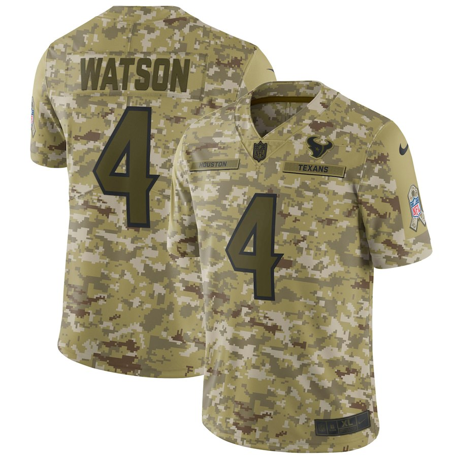 Men's Texans #4 Deshaun Watson 2018 Camo Salute To Service Limited Stitched NFL Jersey
