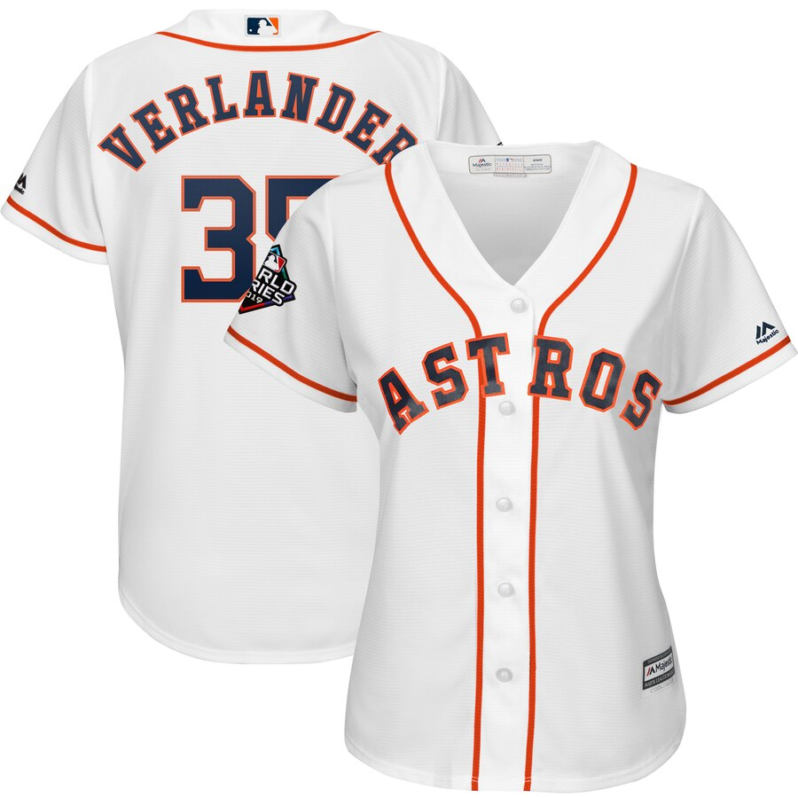 Women's Houston Astros Justin Verlander White 2019 World Series Bound Official Cool Base Player Jersey