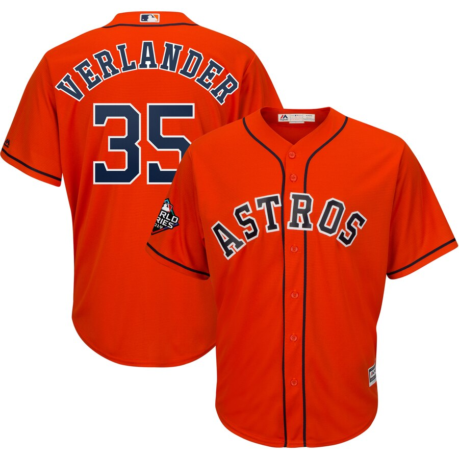 Men's Houston Astros Justin Verlander Orange 2019 World Series Bound Official Cool Base Player Jersey