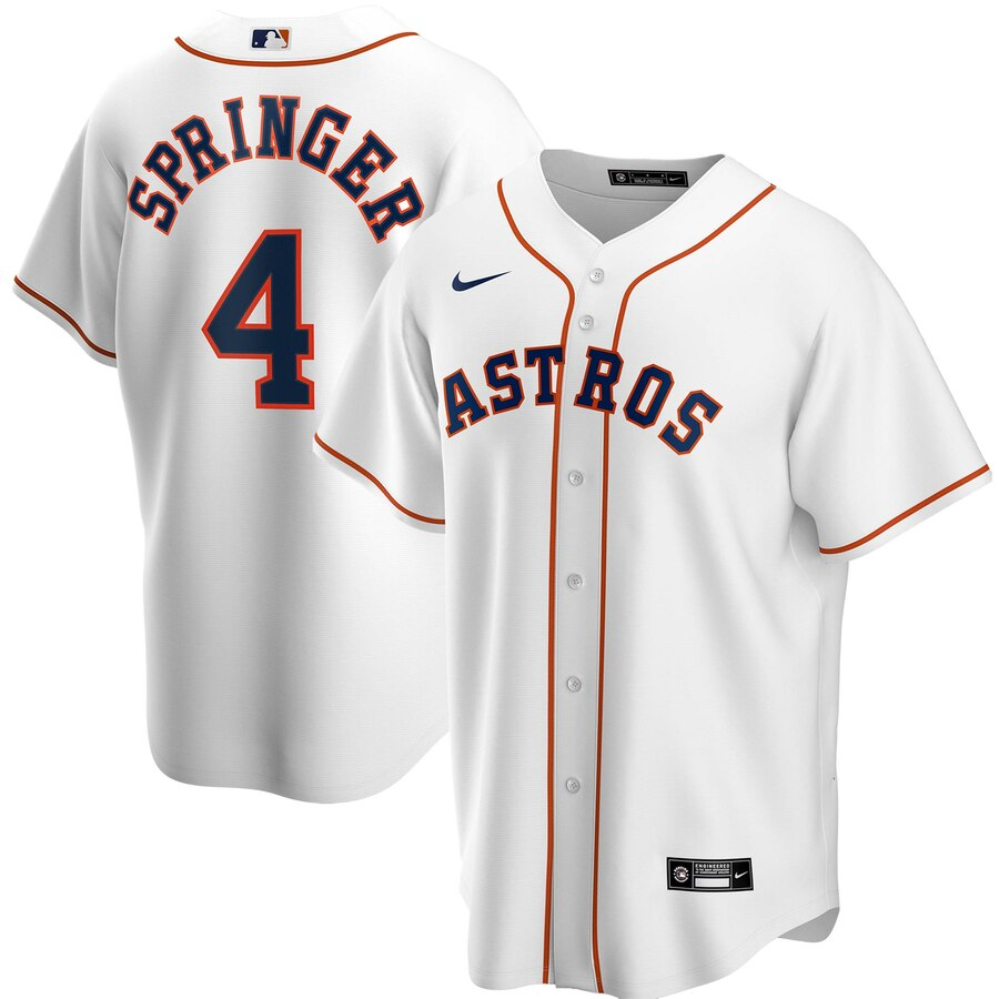 Men's Houston Astros George Springer Nike White Home 2020 Replica Player Jersey