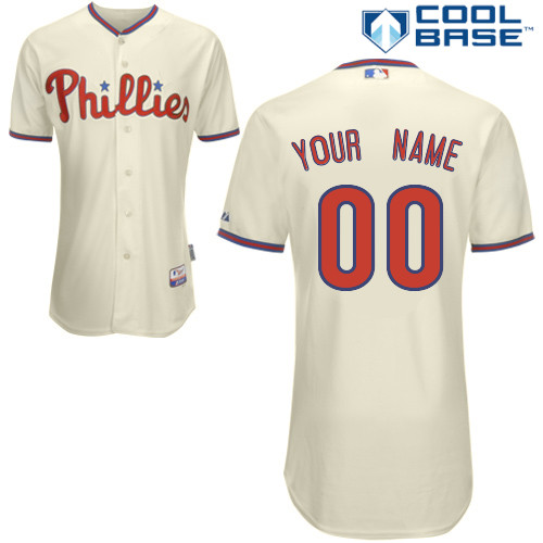 Phillies Personalized Authentic Cream Cool Base MLB Jersey (S-3XL)