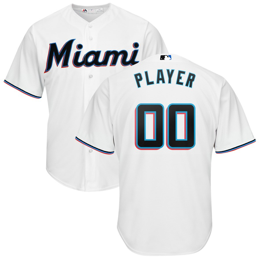 Miami Marlins Majestic Home 2019 Cool Base Custom Jersey White