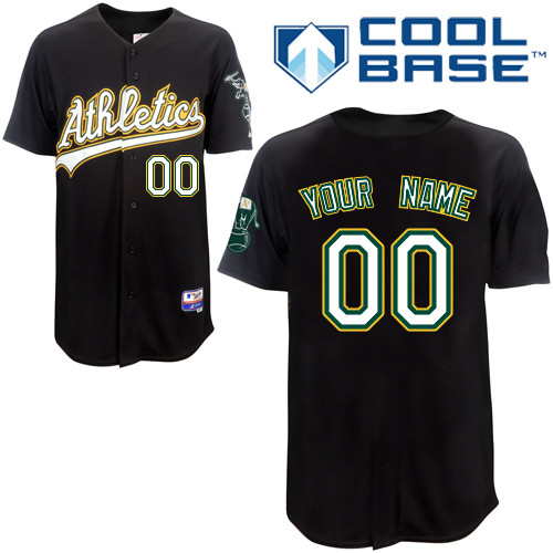 Athletics Personalized Authentic Black Cool Base MLB Jersey (S-3XL)