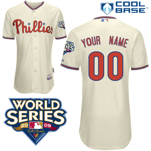 Phillies Personalized Authentic Cream w/2009 World Series Patch Cool Base MLB Jersey (S-3XL)