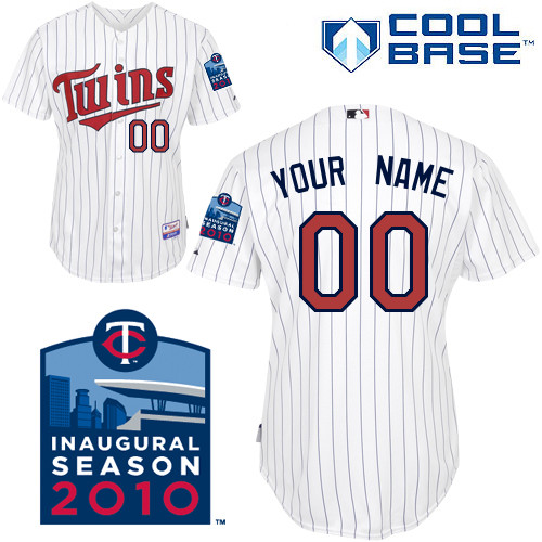 Twins Personalized Authentic White 2010 Cool Base MLB Jersey (S-3XL)