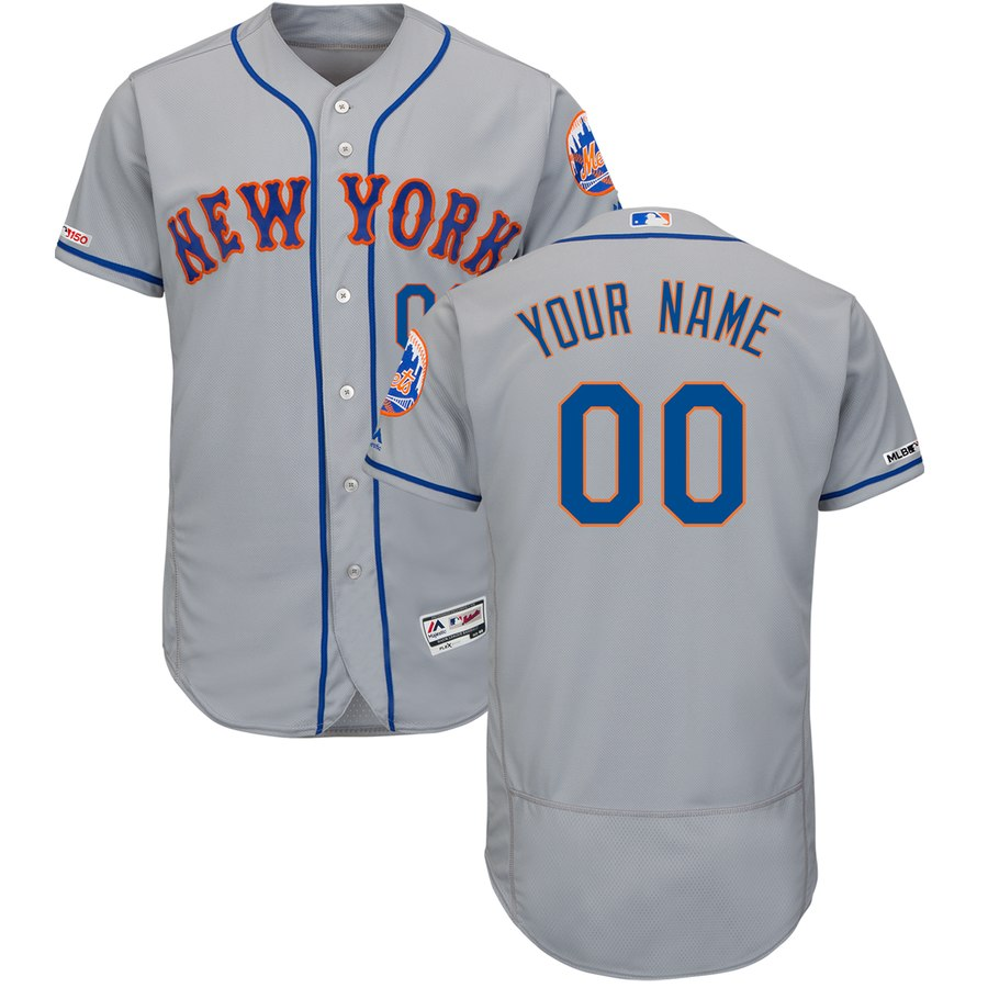 New York Mets Majestic Road Flex Base Authentic Collection Custom Jersey Gray