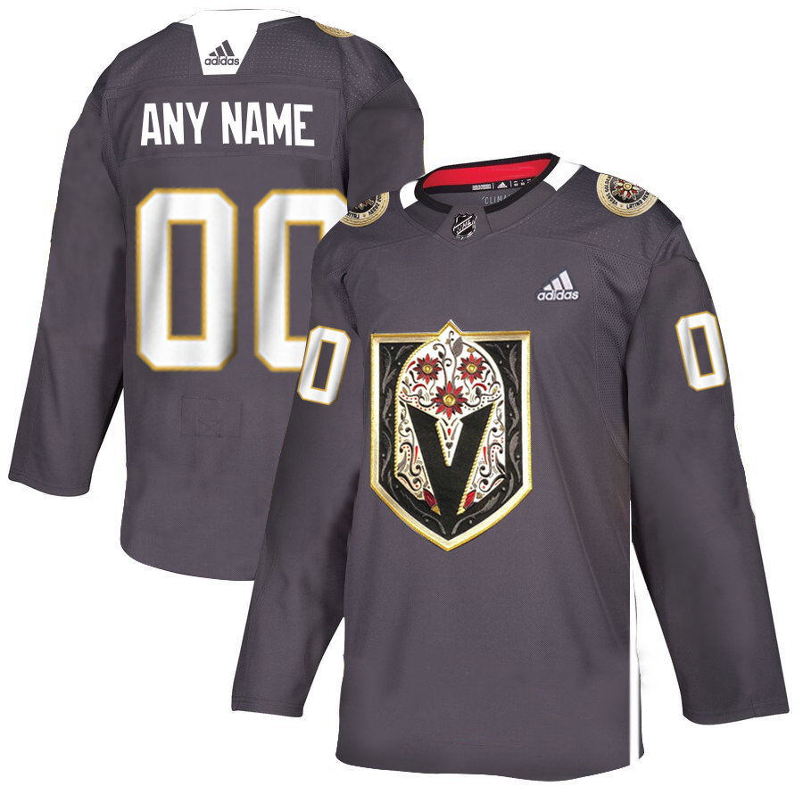 Vegas Golden Knights Custom Men's Grey Adidas Latino Heritage Night Stitched NHL Jersey
