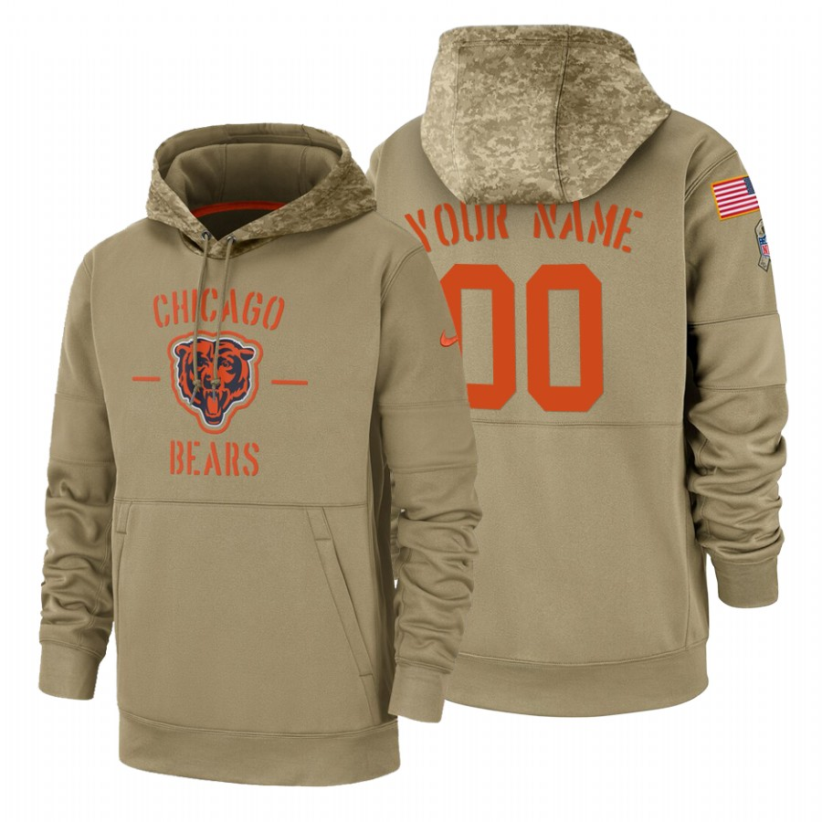 Chicago Bears Custom Nike Tan 2019 Salute To Service Name & Number Sideline Therma Pullover Hoodie