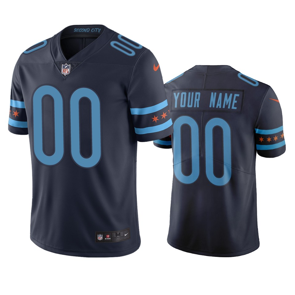 Chicago Bears Custom Navy Vapor Limited City Edition NFL Jersey