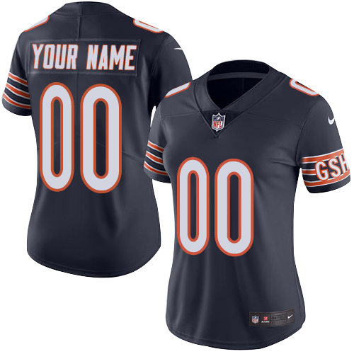 Nike Chicago Bears Customized Navy Blue Team Color Stitched Vapor Untouchable Limited Women's NFL Jersey