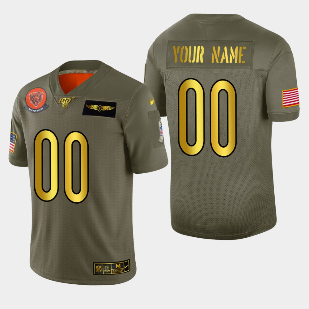 Chicago Bears Custom Men's Nike Olive Gold 2019 Salute to Service Limited NFL 100 Jersey