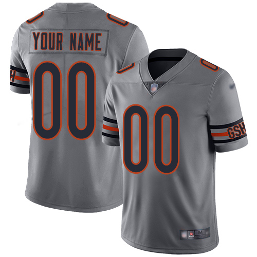 Nike Chicago Bears Customized Silver Men's Stitched NFL Limited Inverted Legend Jersey