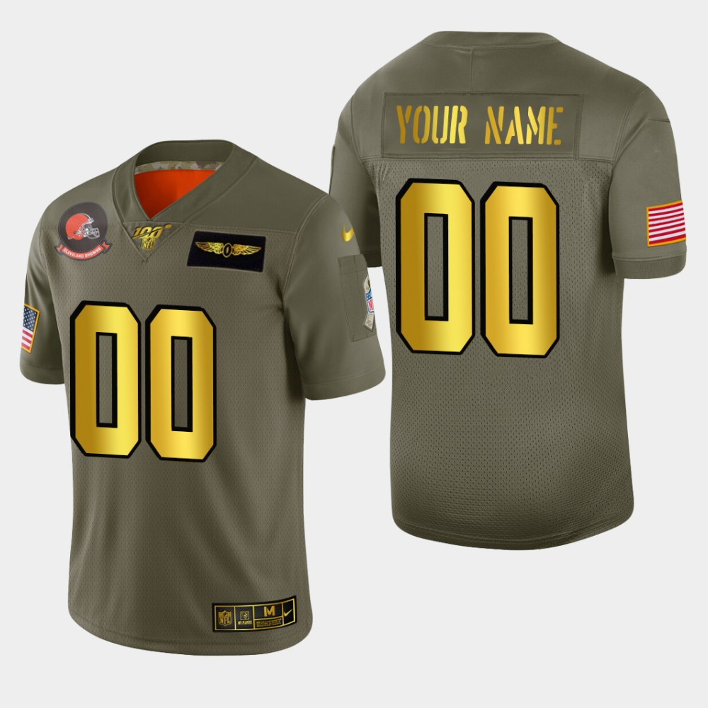Nike Browns Custom Men's Olive Gold 2019 Salute to Service NFL 100 Limited Jersey