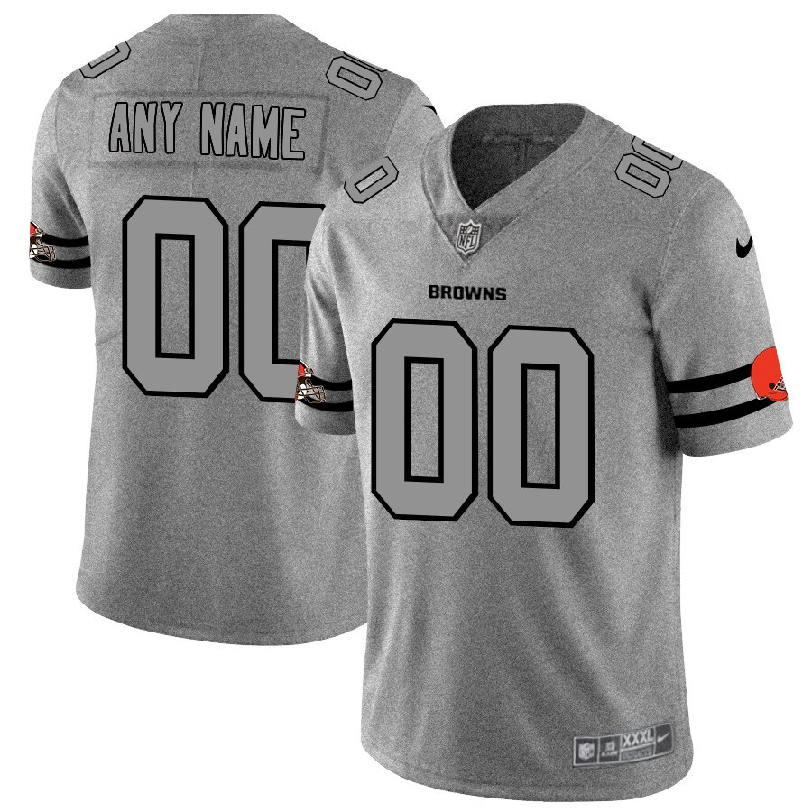Cleveland Browns Custom Men's Nike Gray Gridiron II Vapor Untouchable Limited NFL Jersey
