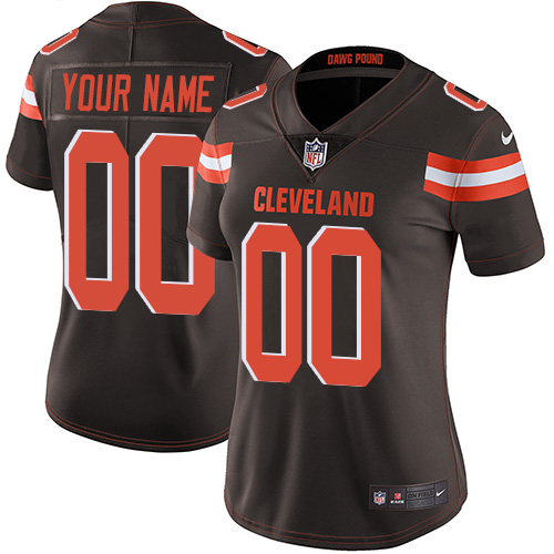 Nike Cleveland Browns Customized Brown Team Color Stitched Vapor Untouchable Limited Women's NFL Jersey