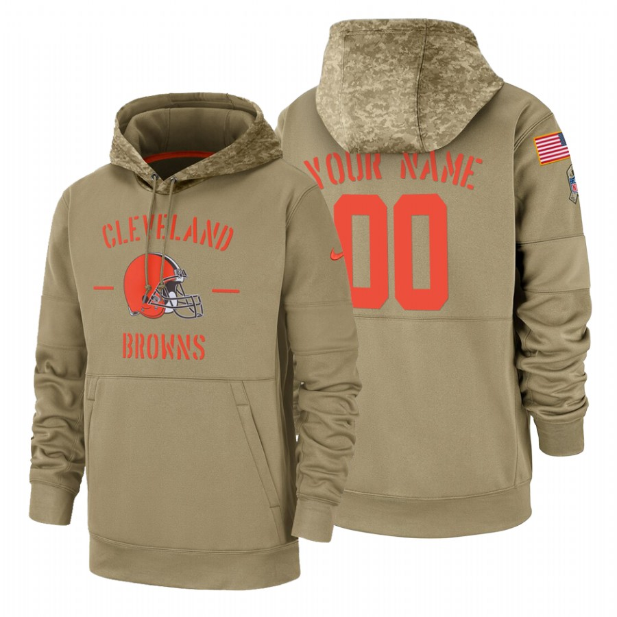 Cleveland Browns Custom Nike Tan 2019 Salute To Service Name & Number Sideline Therma Pullover Hoodie