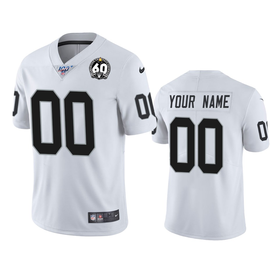 Nike Raiders Custom White 60th Anniversary Vapor Limited Stitched NFL 100th Season Jersey