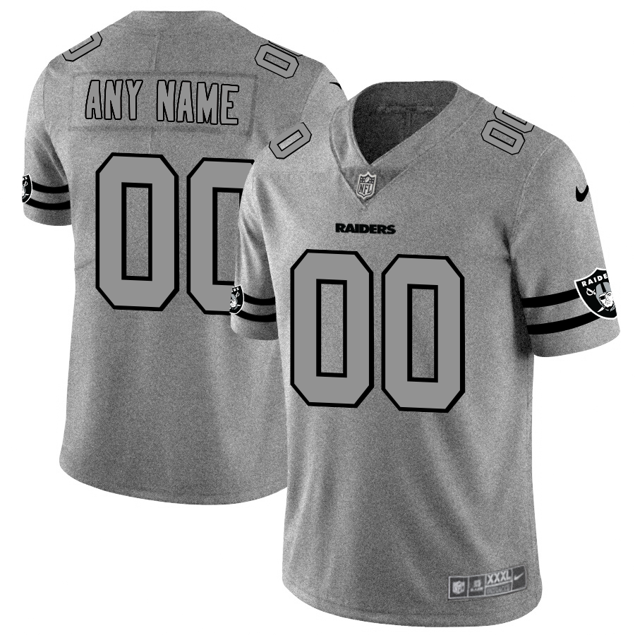 Las Vegas Raiders Custom Men's Nike Gray Gridiron II Vapor Untouchable Limited NFL Jersey