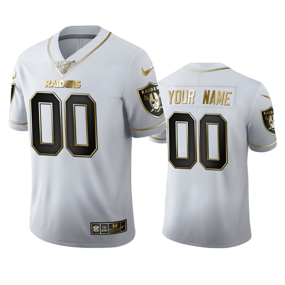 Las Vegas Raiders Custom Men's Nike White Golden Edition Vapor Limited NFL 100 Jersey
