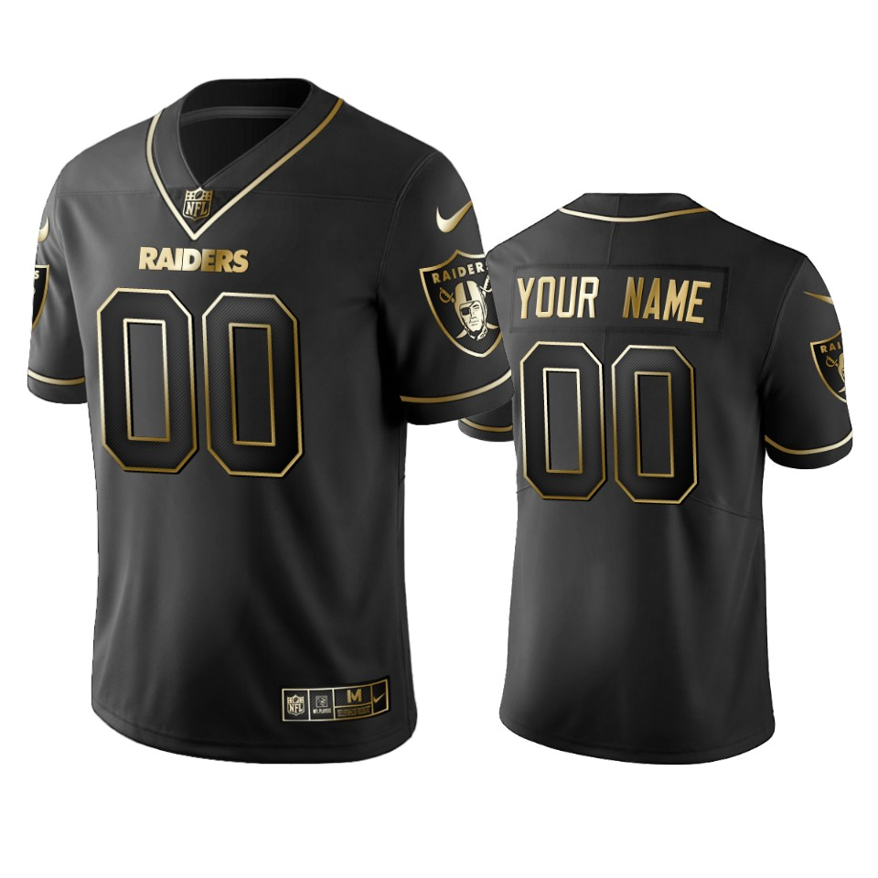 Raiders Custom Men's Stitched NFL Vapor Untouchable Limited Black Golden Jersey