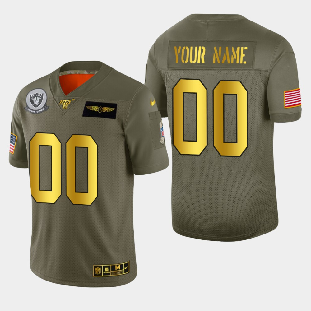 Raiders Custom Men's Nike Olive Gold 2019 Salute to Service Limited NFL 100 Jersey