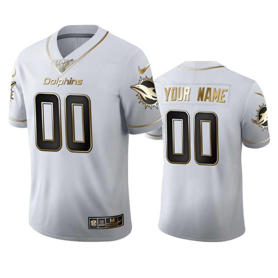 Miami Dophins Custom Men's Nike White Golden Edition Vapor Limited NFL 100 Jersey
