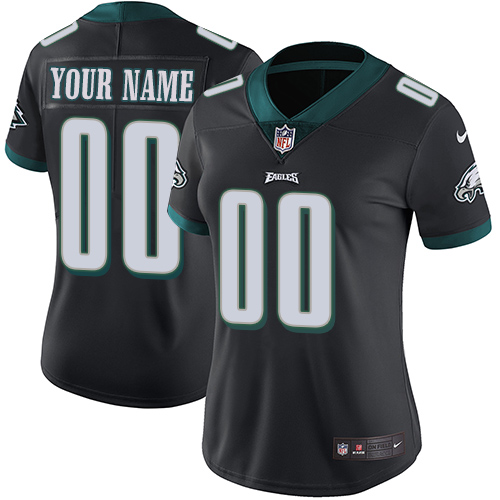 Nike Philadelphia Eagles Customized Black Alternate Stitched Vapor Untouchable Limited Women's NFL Jersey