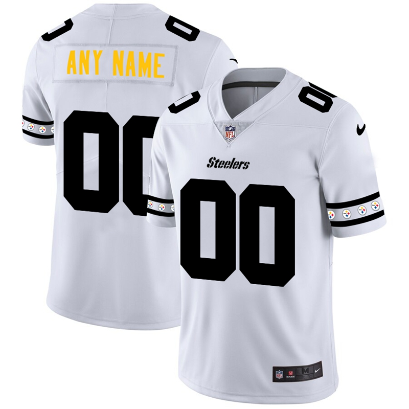 Pittsburgh Steelers Custom Nike White Team Logo Vapor Limited NFL Jersey