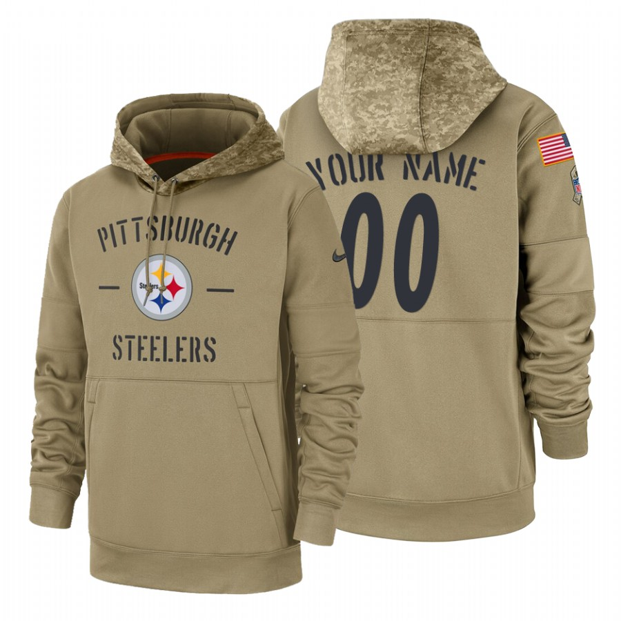 Pittsburgh Steelers Custom Nike Tan 2019 Salute To Service Name & Number Sideline Therma Pullover Hoodie