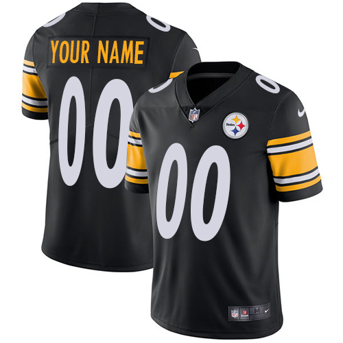 Nike Pittsburgh Steelers Customized Black Team Color Stitched Vapor Untouchable Limited Youth NFL Jersey