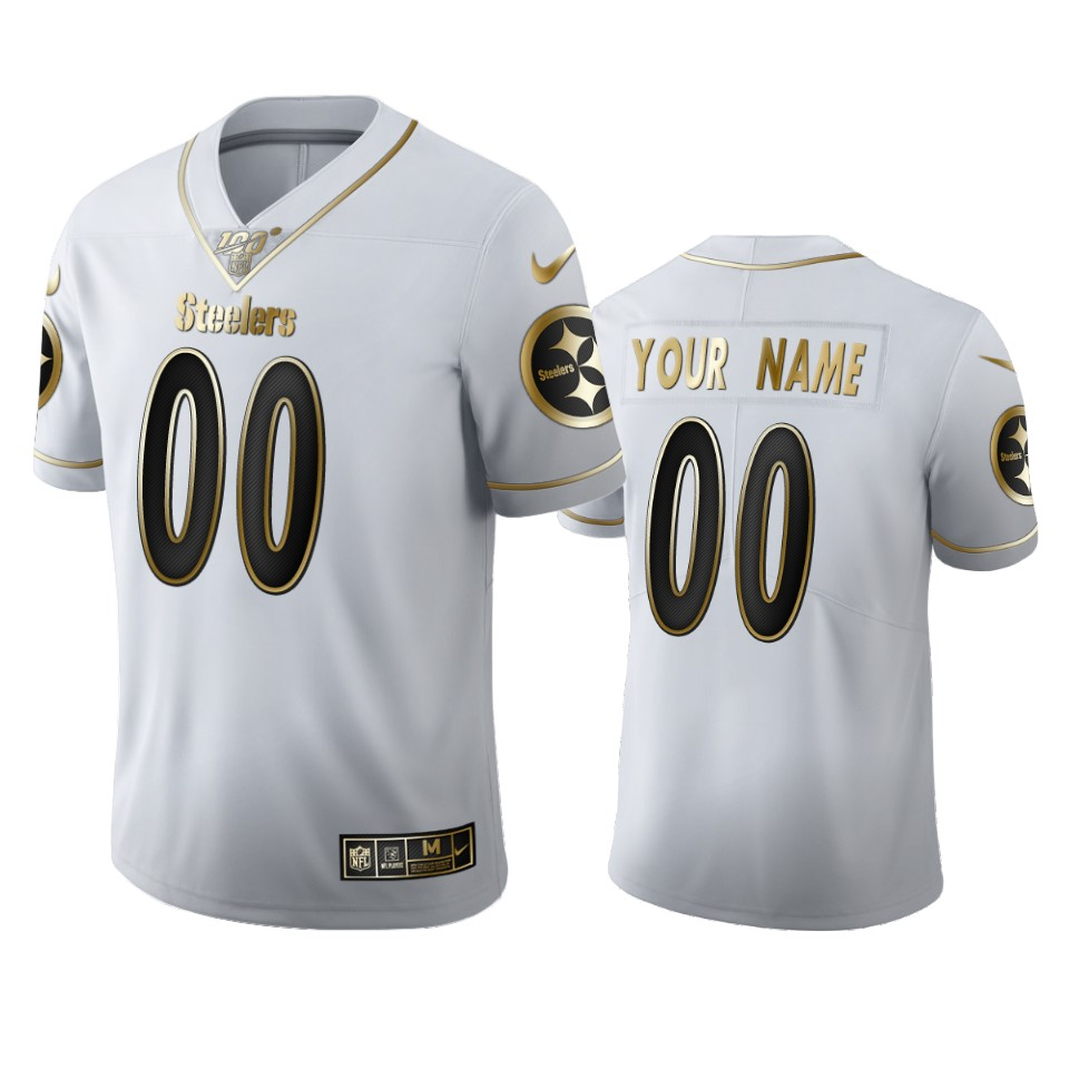 Pittsburgh Steelers Custom Men's Nike White Golden Edition Vapor Limited NFL 100 Jersey