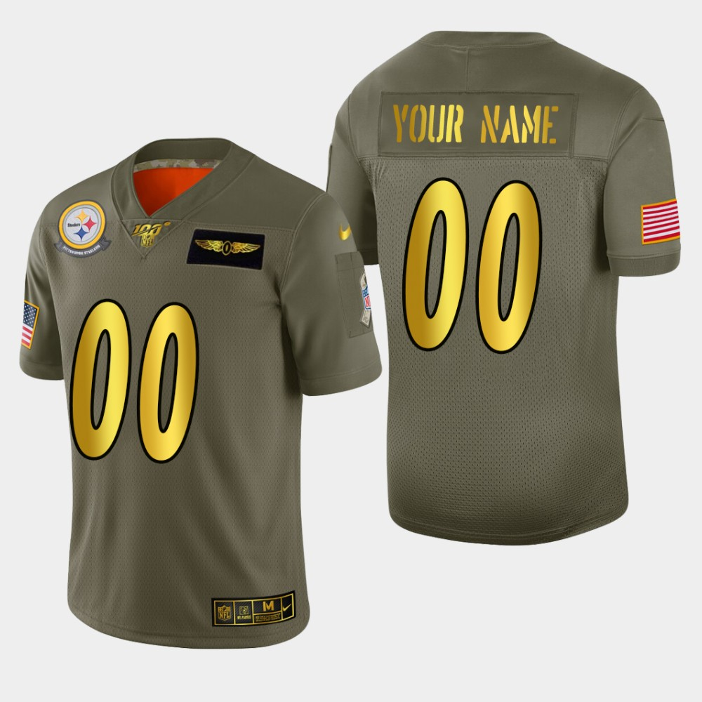 Nike Steelers Custom Men's Olive Gold 2019 Salute to Service NFL 100 Limited Jersey