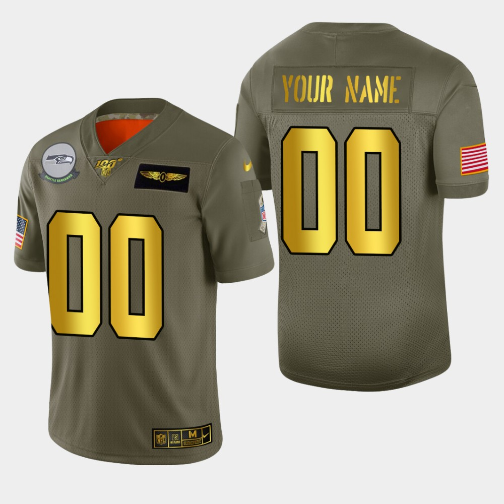 Seattle Seahawks Custom Men's Nike Olive Gold 2019 Salute to Service Limited NFL 100 Jersey