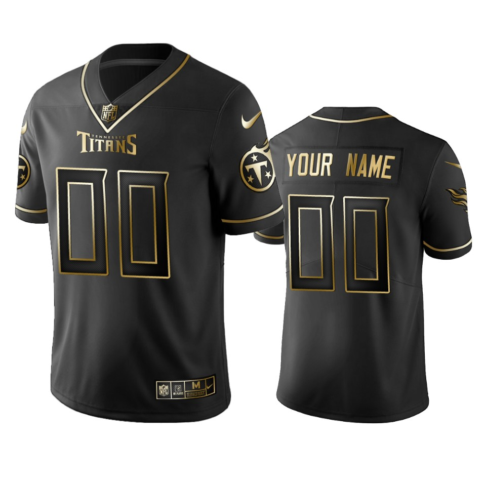 Titans Custom Men's Stitched NFL Vapor Untouchable Limited Black Golden Jersey