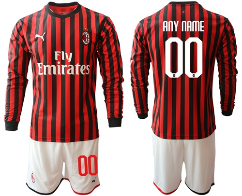 AC Milan Personalized Home Long Sleeves Soccer Club Jersey