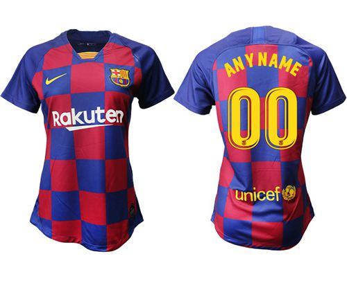 Women's Barcelona Personalized Home Soccer Club Jersey