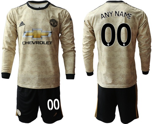 Manchester United Personalized Away Long Sleeves Soccer Club Jersey