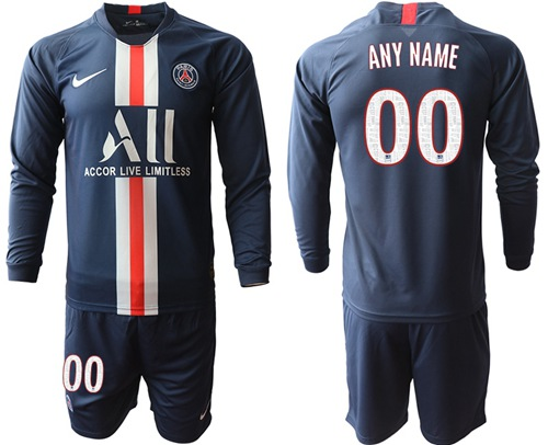 Paris Saint-Germain Personalized Home Long Sleeves Soccer Club Jersey