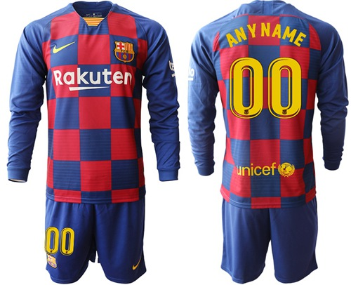 Barcelona Personalized Home Long Sleeves Soccer Club Jersey