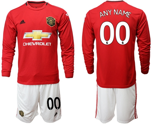 Manchester United Personalized Home Long Sleeves Soccer Club Jersey