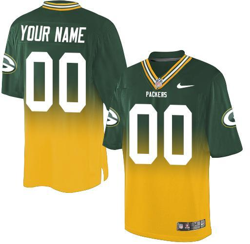 Nike Green Bay Packers Customized Green/Gold Men's Stitched Elite Fadeaway Fashion NFL Jersey
