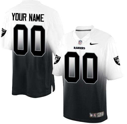 Nike Oakland Raiders Customized Black/White Men's Stitched Elite Fadeaway Fashion NFL Jersey