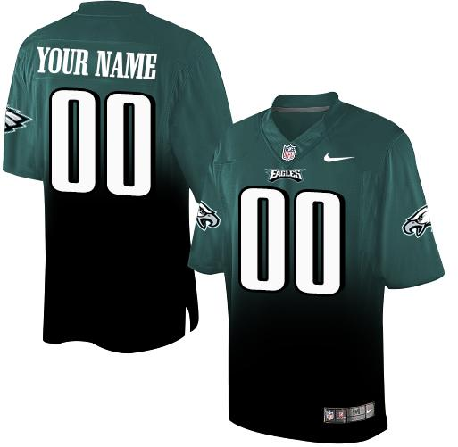 Nike Philadelphia Eagles Customized Midnight Green/Black Men's Stitched Elite Fadeaway Fashion NFL Jersey