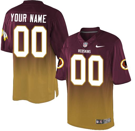 Nike Washington Redskins Customized Burgundy Red/Gold Men's Stitched Elite Fadeaway Fashion NFL Jersey
