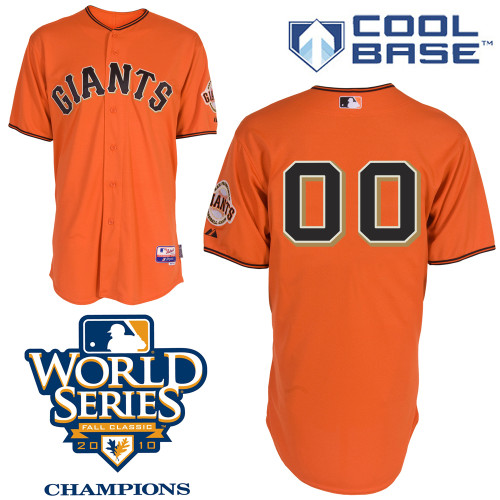 Giants Customized Authentic Orange Cool Base MLB Jersey w/2010 World Series Patch (S-3XL)