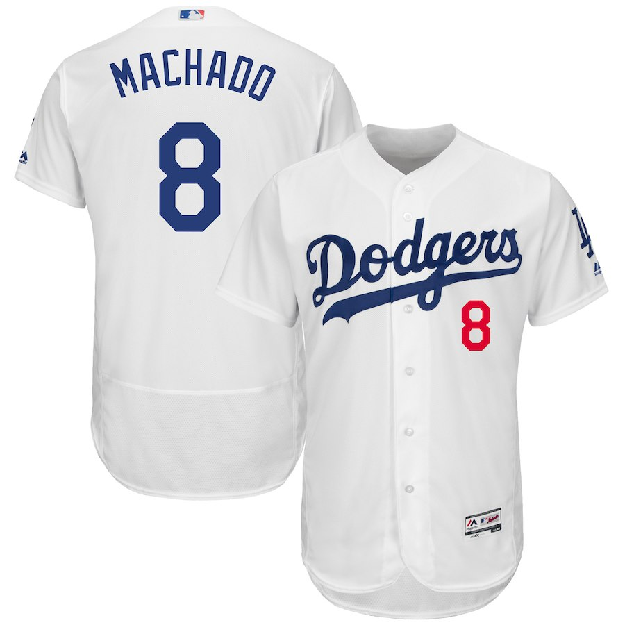 Men's Los Angeles Dodgers Manny Machado White Home Collection Flex Base Player Jersey