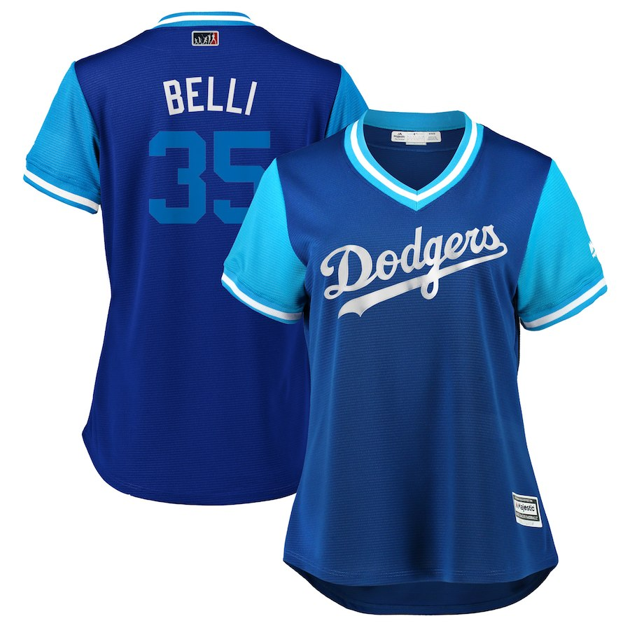 "Women's Los Angeles Dodgers Cody Bellinger ""Belli"" Royal/Light Blue 2018 Players' Weekend Cool Base Jersey"