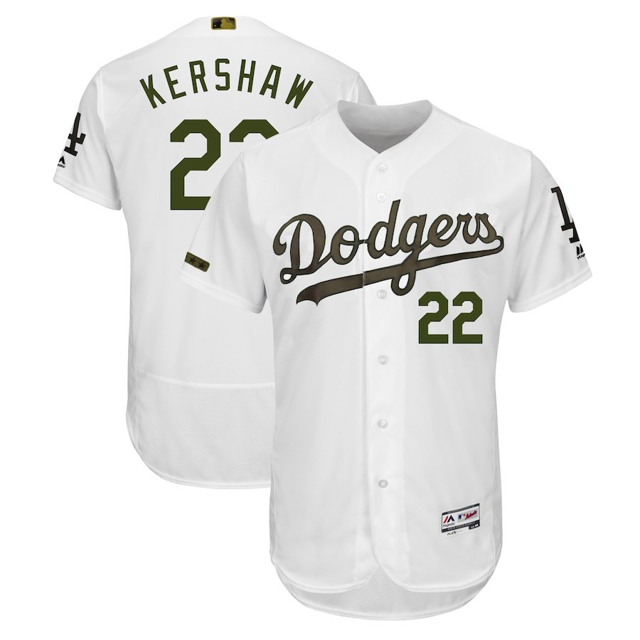 Men's Los Angeles Dodgers Clayton Kershaw White 2018 Memorial Day Collection Flex Base Player Jersey