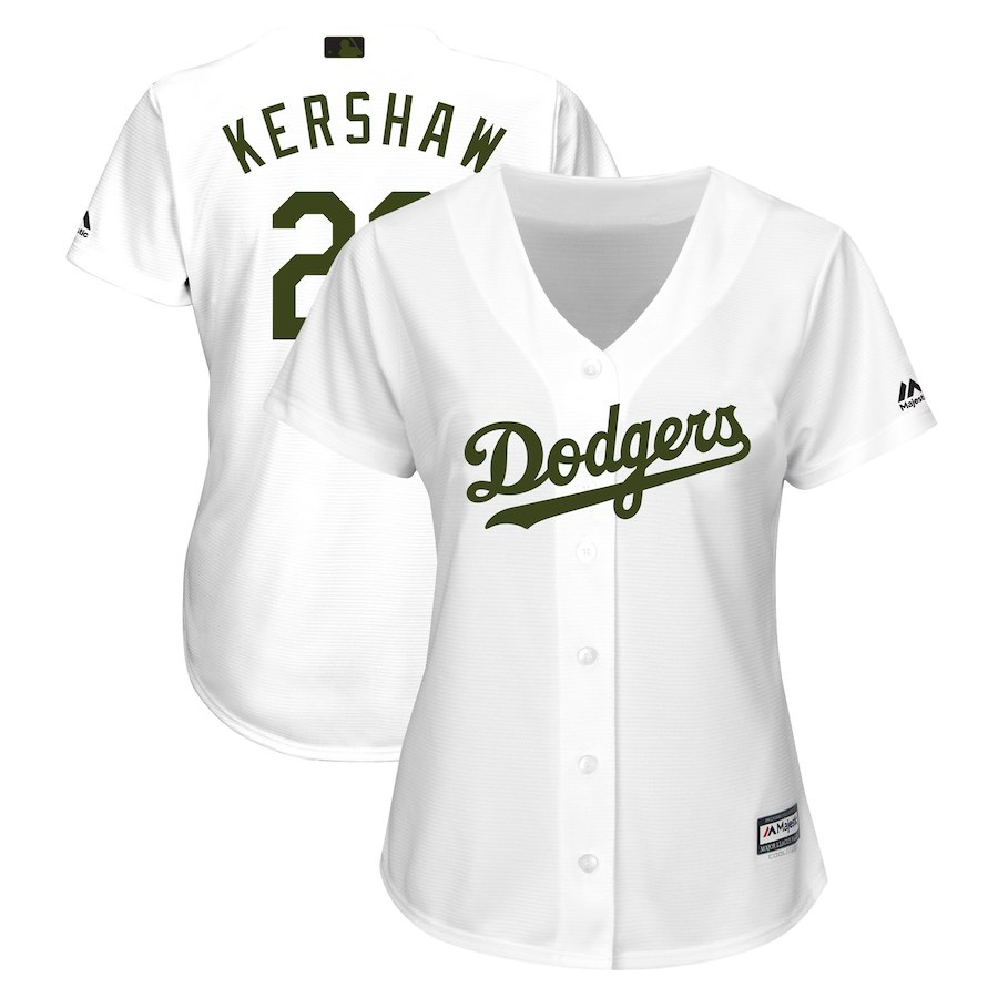 Women's Los Angeles Dodgers Clayton Kershaw White 2018 Memorial Day Cool Base Player Jersey